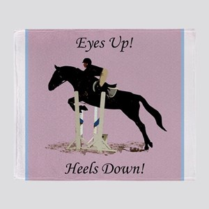 Eyes Up! Heels Down! Horse Throw Blanket
